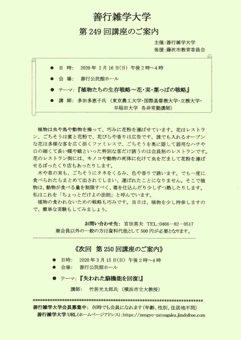 善行雑学大学第249回 「植物たちの生存戦略~花・実・葉っぱの戦略」