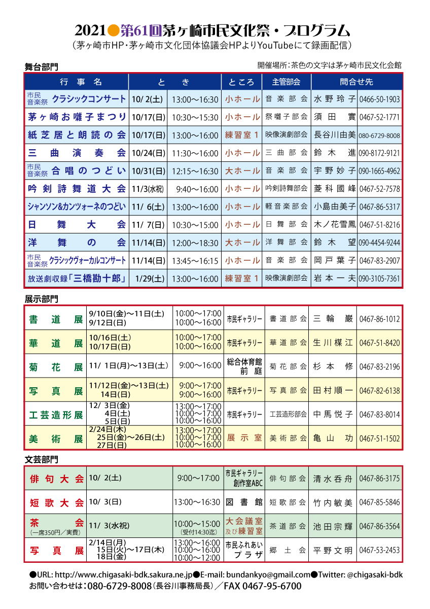 令和3年度 第61回茅ヶ崎市民文化祭